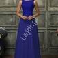 Skromna suknia wieczorowa chabrowa z szyfonu z gipiurową koronką