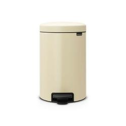 Brabantia - kosz newicon - 12 l - plastikowe wiadro i wolnoopadająca pokrywa - migdałowy - kremowy