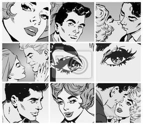 Fototapeta coleccion de ilustraciones, parejas de enamorados