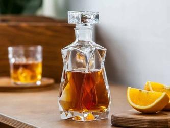 Karafka szklana do wina i nalewek ze szklanym korkiem edwanex łamana 375 ml
