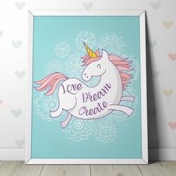 Love dream create - plakat dla dzieci , wymiary - 60cm x 90cm, kolor ramki - czarny