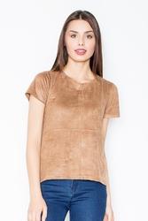 Brązowy zamszowy t-shirt z suwakiem na plecach