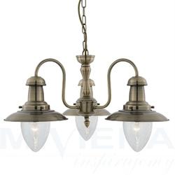 Fisherman lampa wisząca 3 antyczny mosiądz