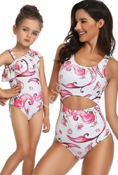 Jednoczęściowy strój mama i córka w syrenki , basen, plaża
