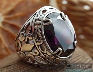 Leon - srebrny sygnet z ametystem