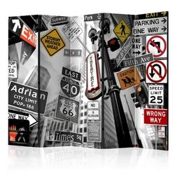 Parawan 5-częściowy - nowojorskie znaki ii room dividers