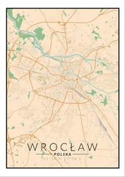 Wrocław mapa kolorowa - plakat Wymiar do wyboru: 50x70 cm