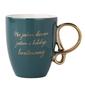 Kubek do kawy i herbaty porcelanowy z ozdobnym uchem altom design sentencje 300 ml zielony