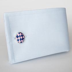 Eleganckie spinki do mankietów owalne w niebiesko różową szachownicę