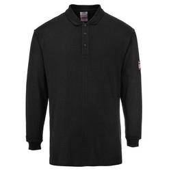 Koszulka polo z długim rękawem, trudnopalna, antystatyczna fr10 czarna