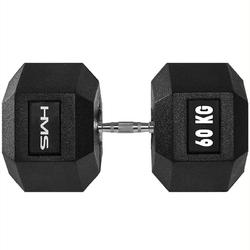 Hantla stalowa gumowana hex pro 60 kg - hms - 60 kg