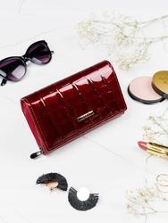 Skórzany portfel damski czerwony lorenti 76112 - czerwony