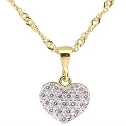 Złoty wisiorek płaski serce multi kryształy 333 prezent