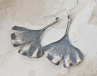 Liść miłorzębu -  srebrne kolczyki