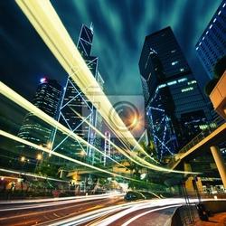 Fototapeta hong kong centrum miasta w nocy z lekkie ślady