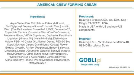American crew forming cream, krem do stylizacji włosów średnio mocny z połyskiem 50g