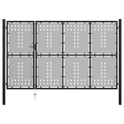 Vidaxl brama ogrodzeniowa, stalowa, 350 x 150 cm, czarna