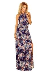 Długa Sukienka w Kwiaty bez Rękawów