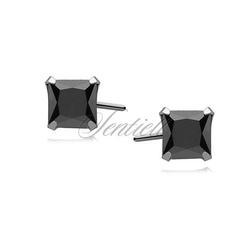Srebrne kolczyki pr.925 cyrkonia czarna 5 x 5mm kwadratowe
