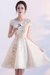 Szampańska krótka koronkowa sukienka wieczorowa yr041101