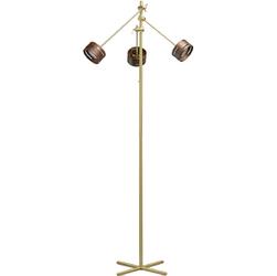 Złota lampa podłogowa LED regulowane ramiona i drewniane obudowy RegenBogen 725040803