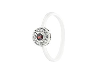 Pierścionek ze srebra ps128cr z czerwoną cyrkonią