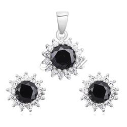 Srebrny komplet z cyrkoniami pr.925 elegancka czarna cyrkonia - karmazycja