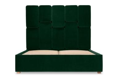 Łóżko snödroppe 160x200 welurowe welur bawełna 100 ciemnozielony