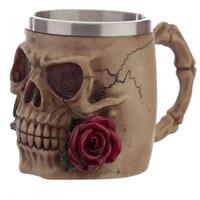 Czaszka z czerwoną różą - kufel dekoracyjny