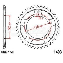 Zębatka tylna stalowa jt r 1493-42, 42z rozmiar 530 2302619 kawasaki zzr 1400