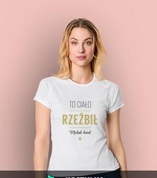 Rzeźbił michał anioł t-shirt sportowy damski biały xl