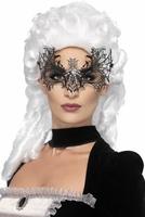 Maska wenecka na oczy czarna wdowa z cekinami
