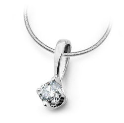 Staviori Wisiorek. 1 Diament, szlif brylantowy, masa 0,10 ct., barwa K-L, czystość I1. Białe Złoto 0,585. Wymiary 3x9 mm.