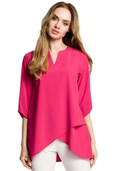 Różowa bluzka nowoczesny kopertowy krój