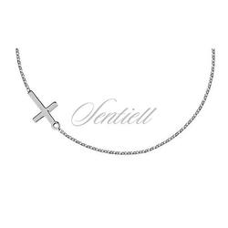 Srebrny naszyjnik pr.925 z krzyżykiem - rodowanie