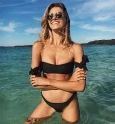Bikini strój dwuczęściowy opaska czarny ramiona