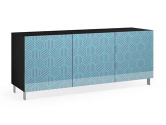 Nowoczesna komoda calisia niebiesko-beżowa z motywem geometrycznym  szer. 180 cm