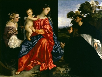 Reprodukcja madonna and child with sts catherine and dominic and a donor, tycjan