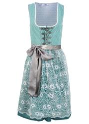 Sukienka w ludowym stylu z koronkowym fartuchem bonprix niebieski mineralny wzorzysty