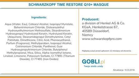 Schwarzkopf bc q10+ time restore, maska odbudowująca dojrzałe włosy 200ml