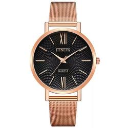 Zegarek geneva klasyk wąski pasek mesh czarny - rose gold black
