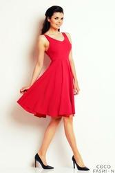 Różowa Rozkloszowana Sukienka z Dekoltem