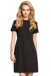 Krótka sukienka trapezowa z dekoltem kontrafałdą na plecach czarna m309