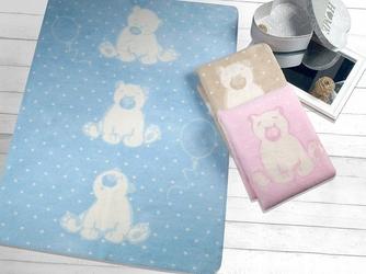 Koc sweet bear greno, 4 kolory błękitny 75 x 100