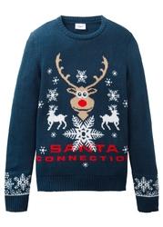Sweter chłopięcy dzianinowy z bożonarodzeniowym motywem bonprix ciemnoniebieski