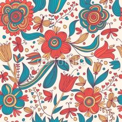 Plakat na papierze fotorealistycznym kwiatowy wzór z motyli
