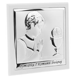 Obrazek srebrny białe drewno chłopiec grawer - obrazki na i komunię św.