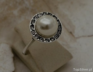 Adria - srebrny pierścionek perła i kryształy