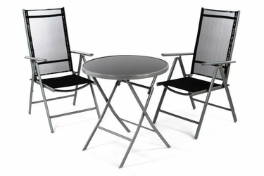 Zestaw mebli ogrodowych 3 częściowy, krzesła stół szklany czarny