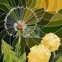 Naklejka ilustracji wektorowych kwiaty mniszka lekarskiego.